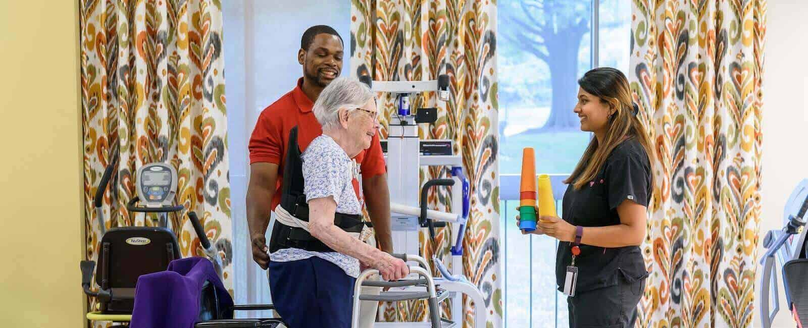 Stroke recovery patient doing physical therapy