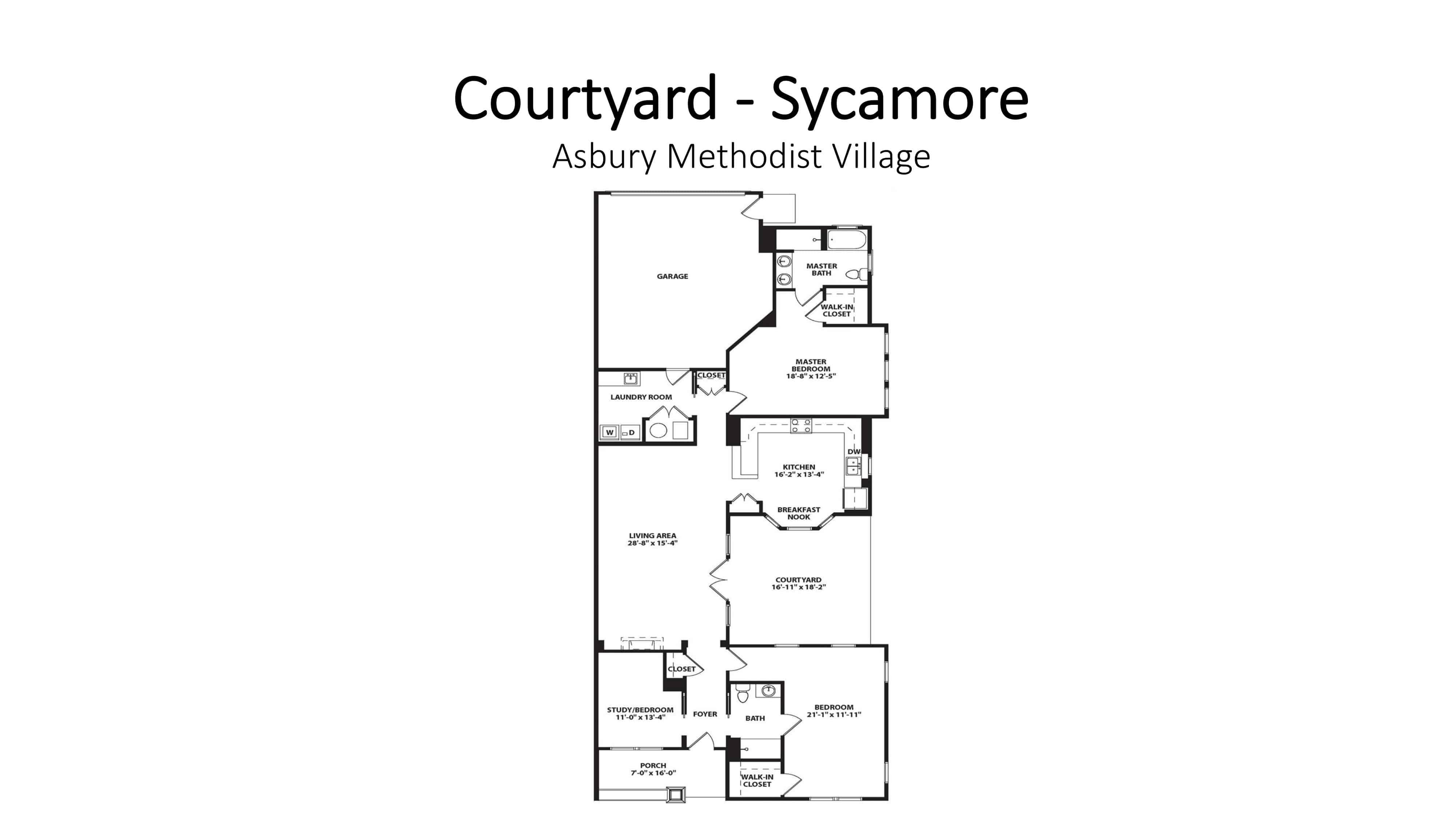 Asbury Methodist Village Courtyard - Sycamore