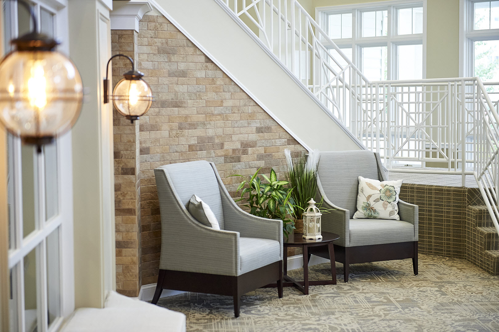 sitting area in the main lobby of asbury solomons