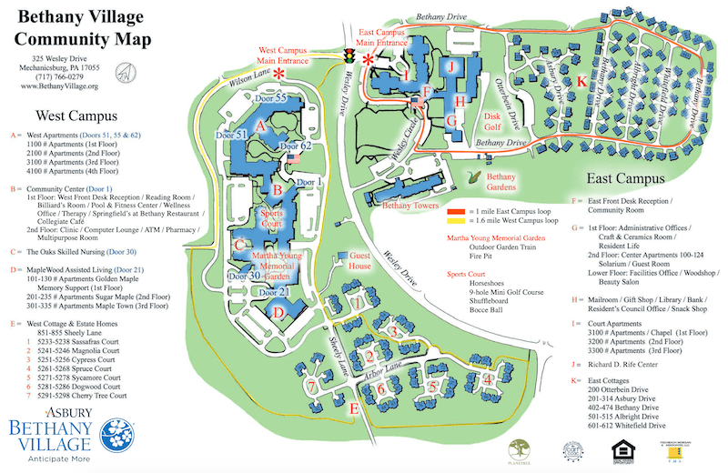 Bethany Village Campus Map