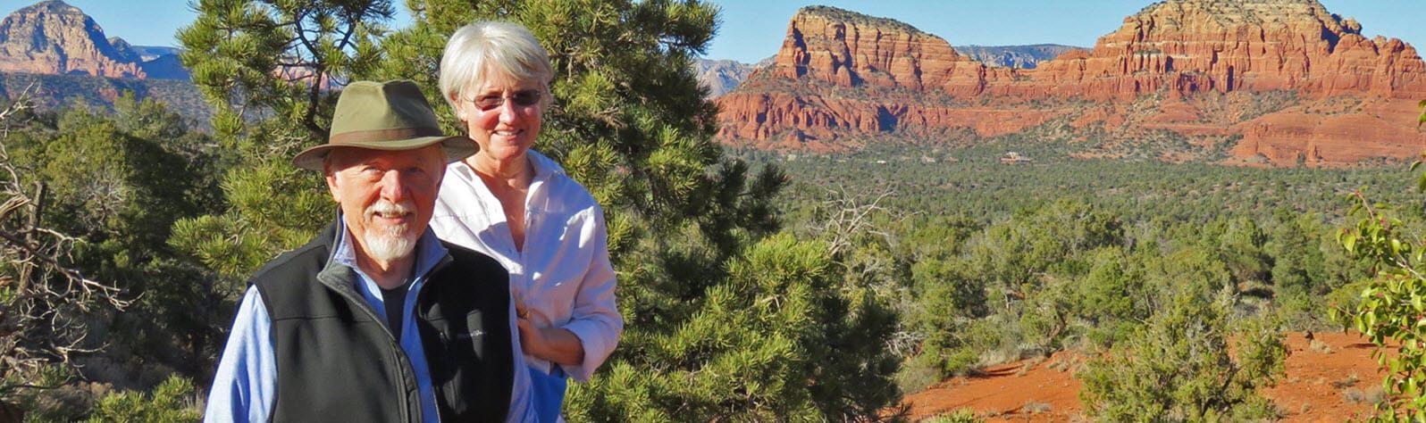 senior couple in desert