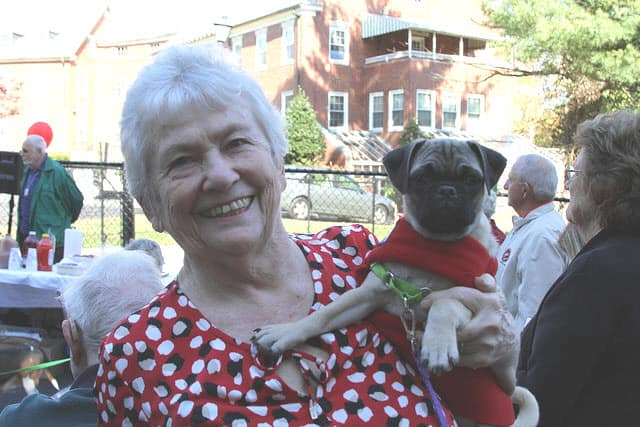 resident and her pug