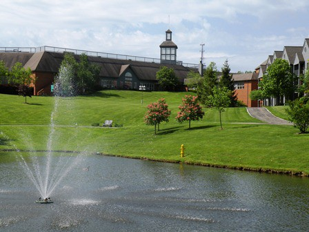 view of the pond and fountain at springhill