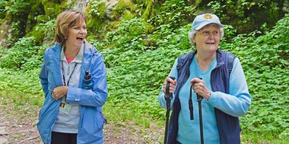residents hiking the trails around maryville
