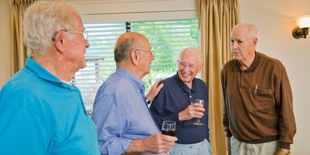 Residents together for social hour