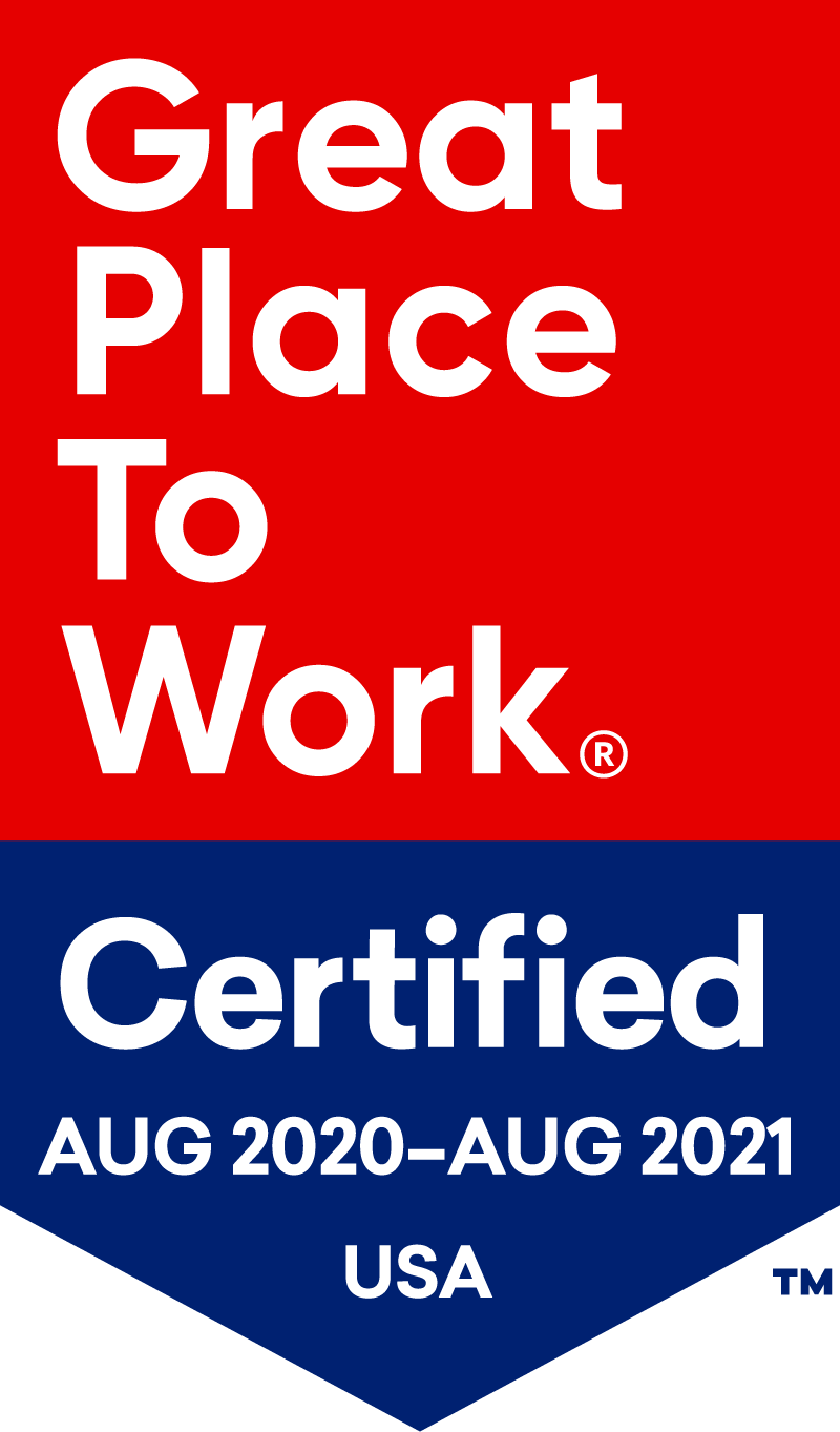great place to work certified august 2020 to august 2021 USA