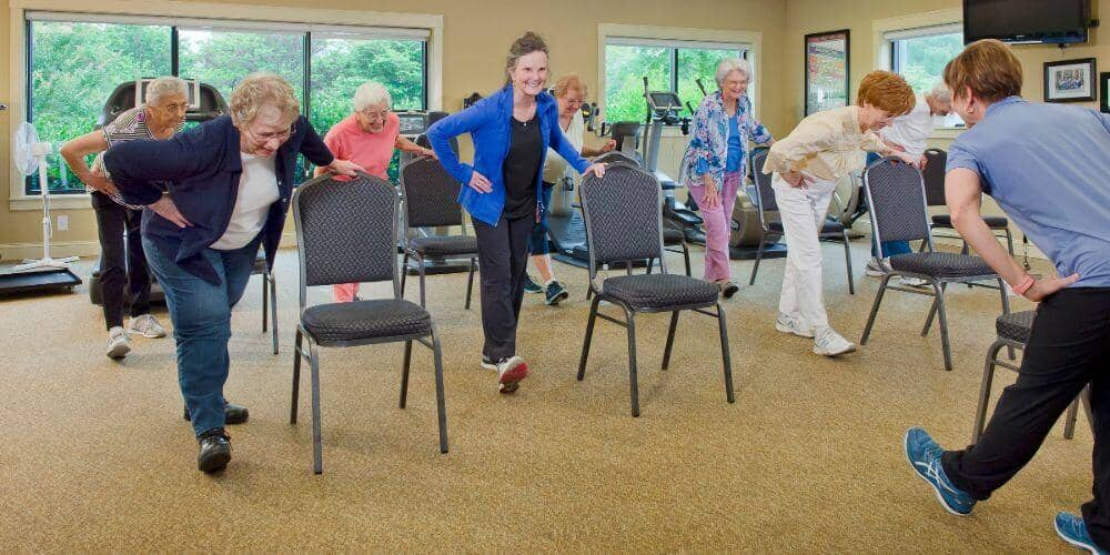 residents enjoying exercise classes at maryville