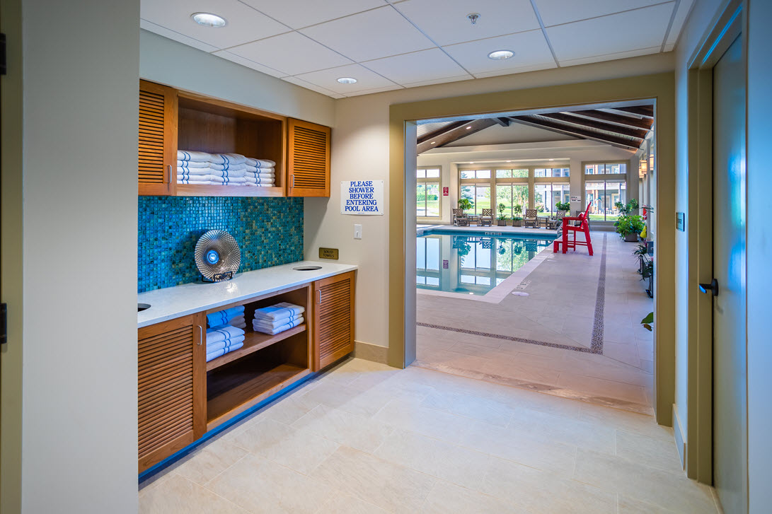 pool entrance and towel cabinets at aqautic center