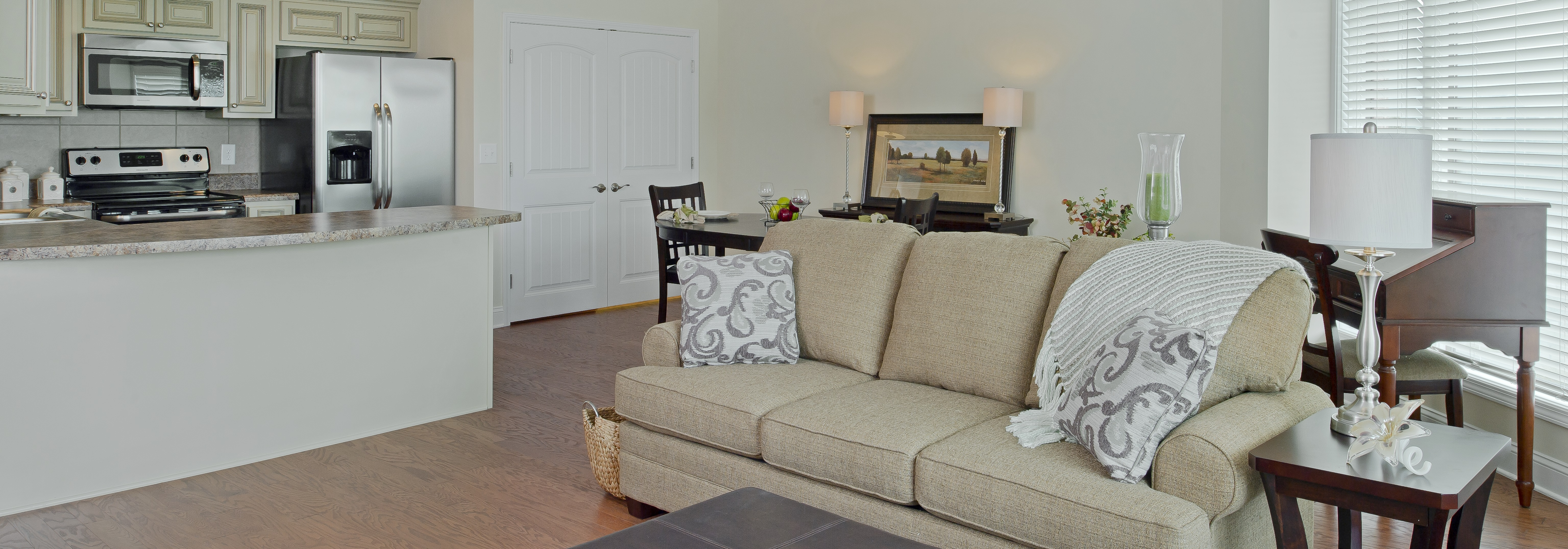 living room inside a senior living apartment at Asbury Place Kingsport