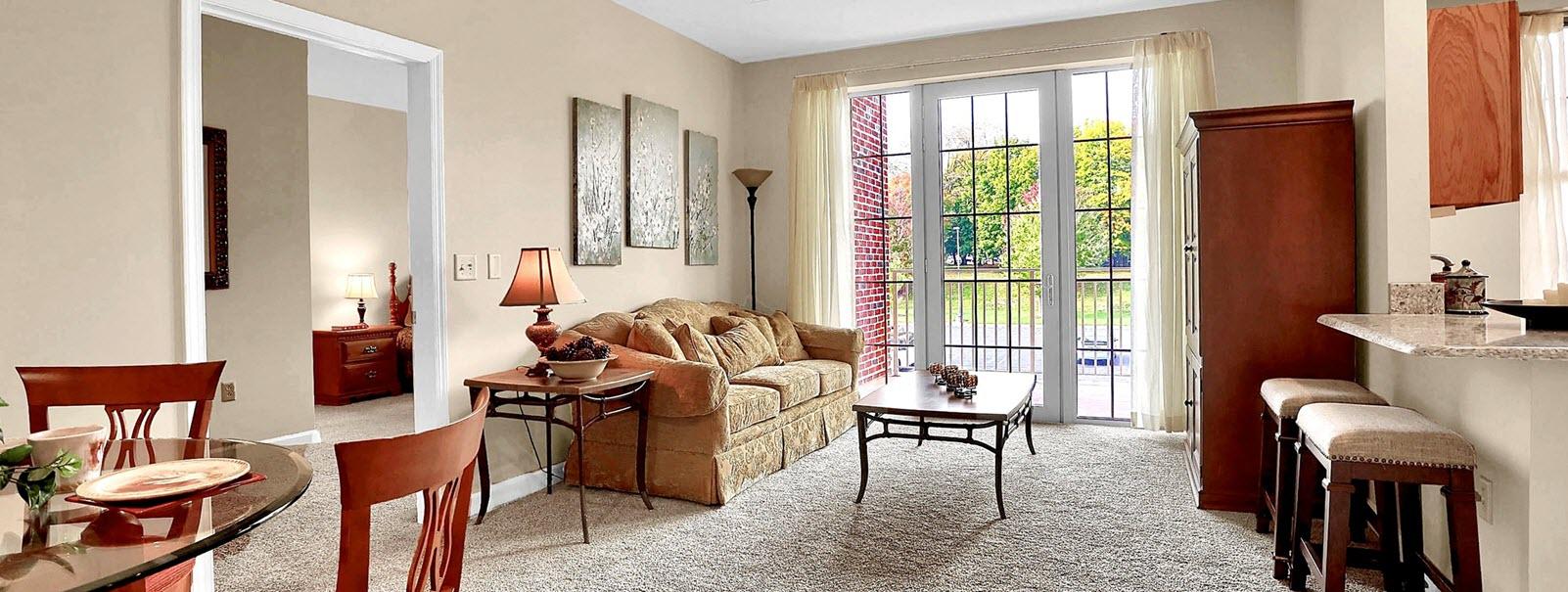 living room area at Asbury Bethany Village senior apartments