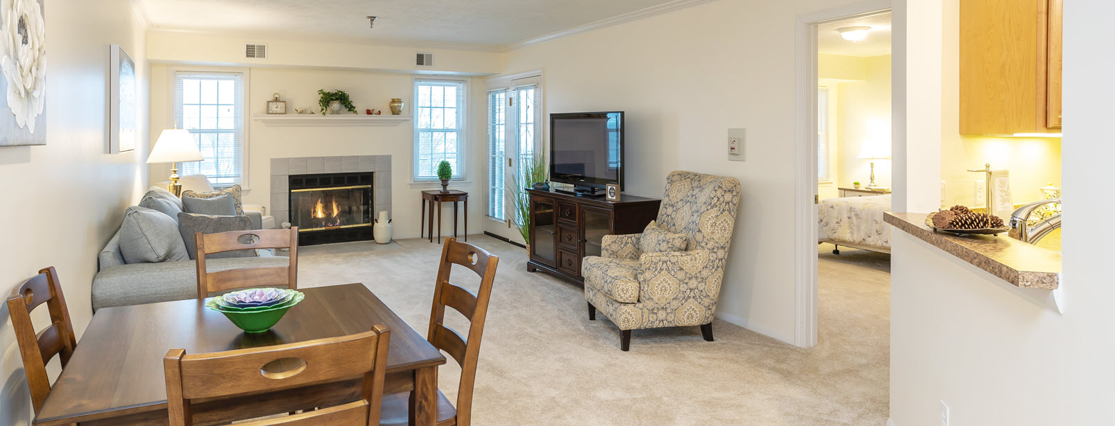 interior of a senior living apartment at Asbury senior living