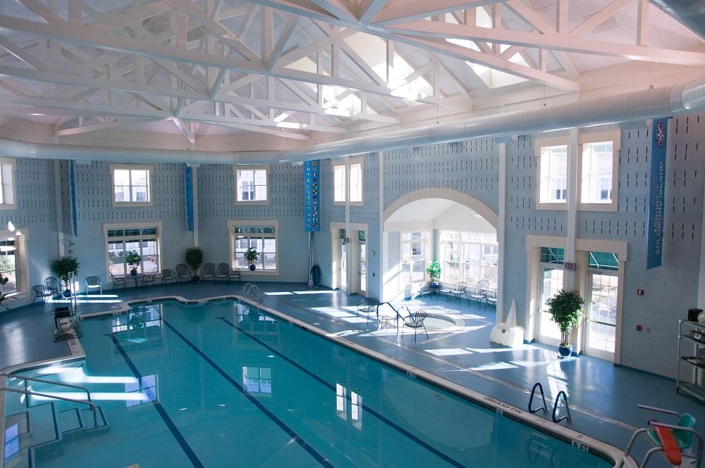 indoor swimming pool at Asbury Solomons senior living community