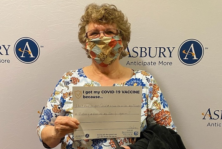 senior lady received the COVID-19 vaccine at Asbury