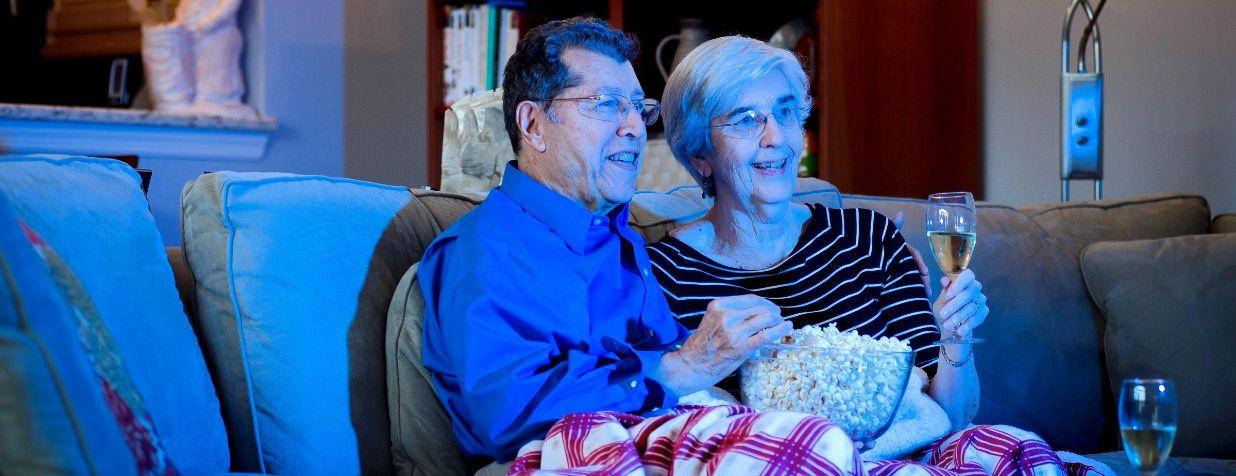 residents enjoying movie night