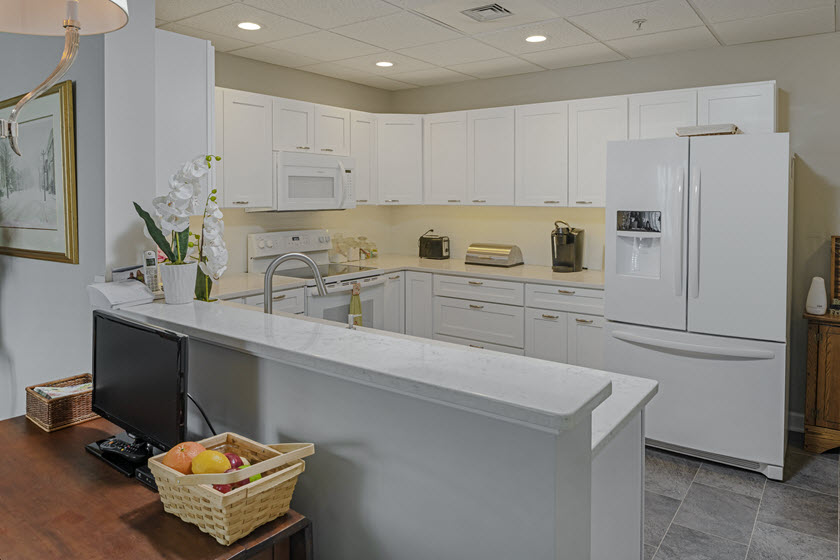 kitchen inside Asbury RiverWoods senior apartments