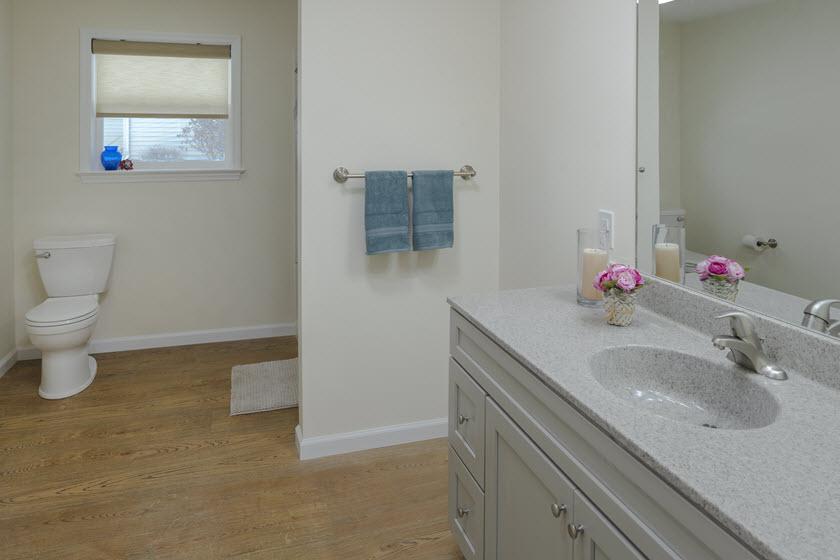 bathroom inside a senior apartment at Asbury RiverWoods