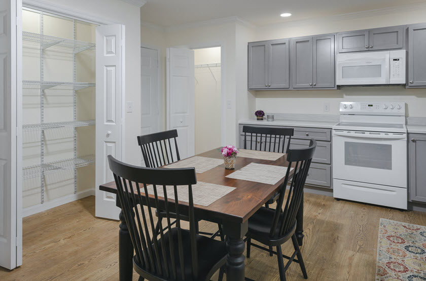 kitchen inside a senior apartment at Asbury RiverWoods