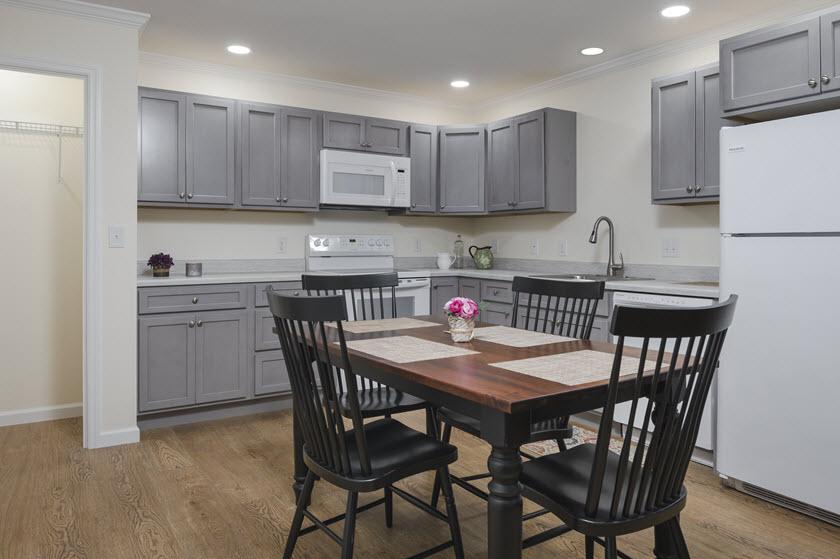 senior living kitchen inside Asbury RiverWoods