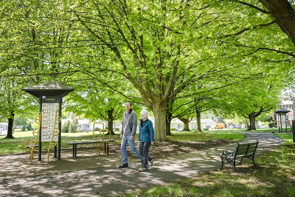 residents walking the trails at riverwoods